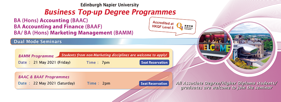 [Edinburgh Napier University] Business Top-up Degree Programmes  - Dual Mode Seminars
