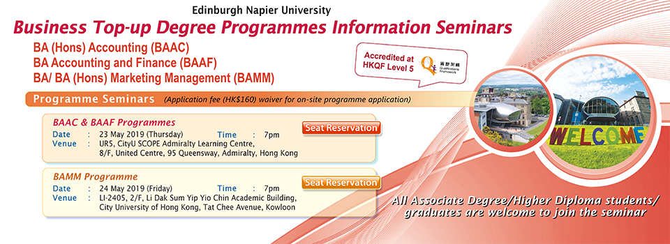 ENU Business Top-up Degree Programmes Information Seminars